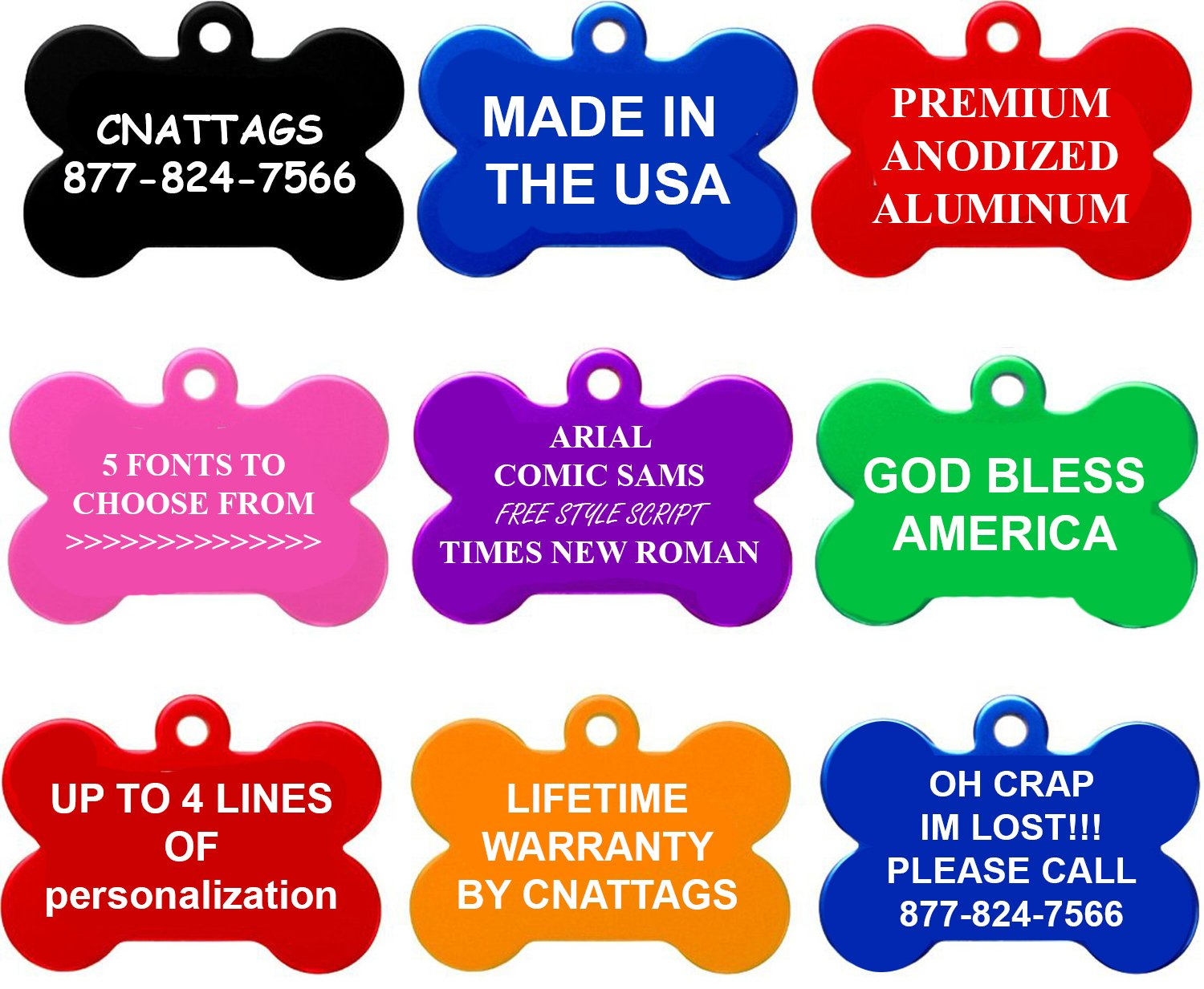 CNATTAGS Bone Pet ID Tags, Premium Aluminum, 8 Colors to Choose