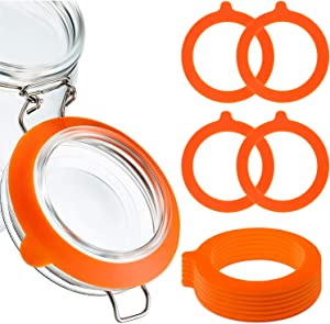 Nowepai 10 PCS Silicone Replacement Jar Seals, 3.7'' Diameter Airtight Rubber Gaskets Sealing Rings for Glass Clip Top Jars, Silicone Fitting Seals for Canning Jars, Orange