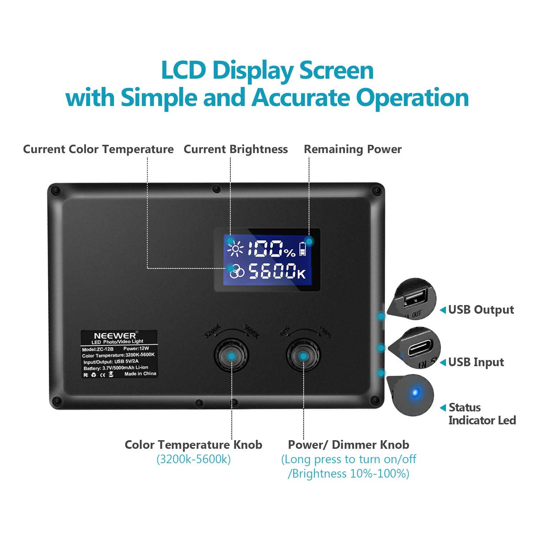 Neewer Led Video Light 3200K-5600K White and Warm Light Adjustable ...