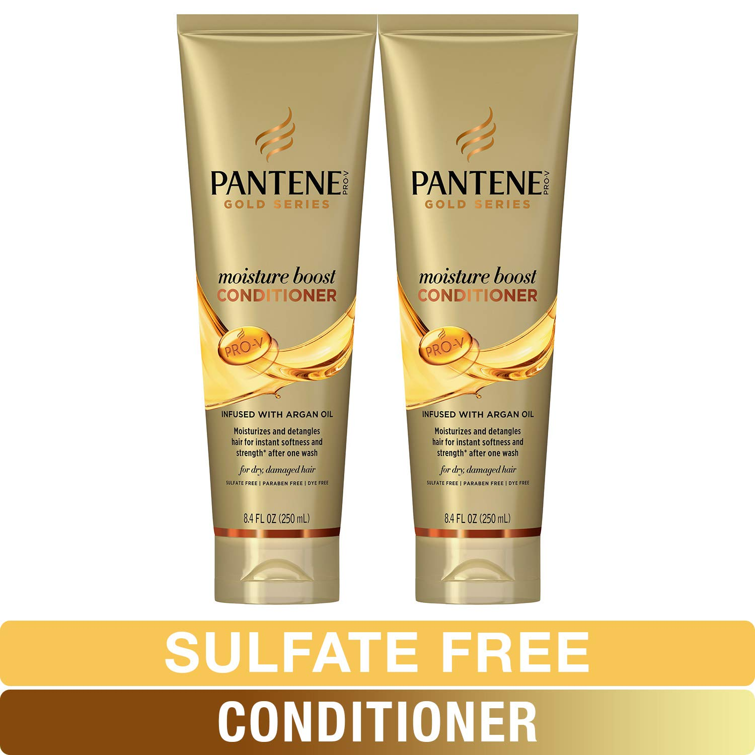 Pantene, Sulfate and Paraben Free Conditioner with Argan Oil, Pro-V Gold Series, for Natural and Curly Textured Hair, 8.4 fl oz, Twin Pack