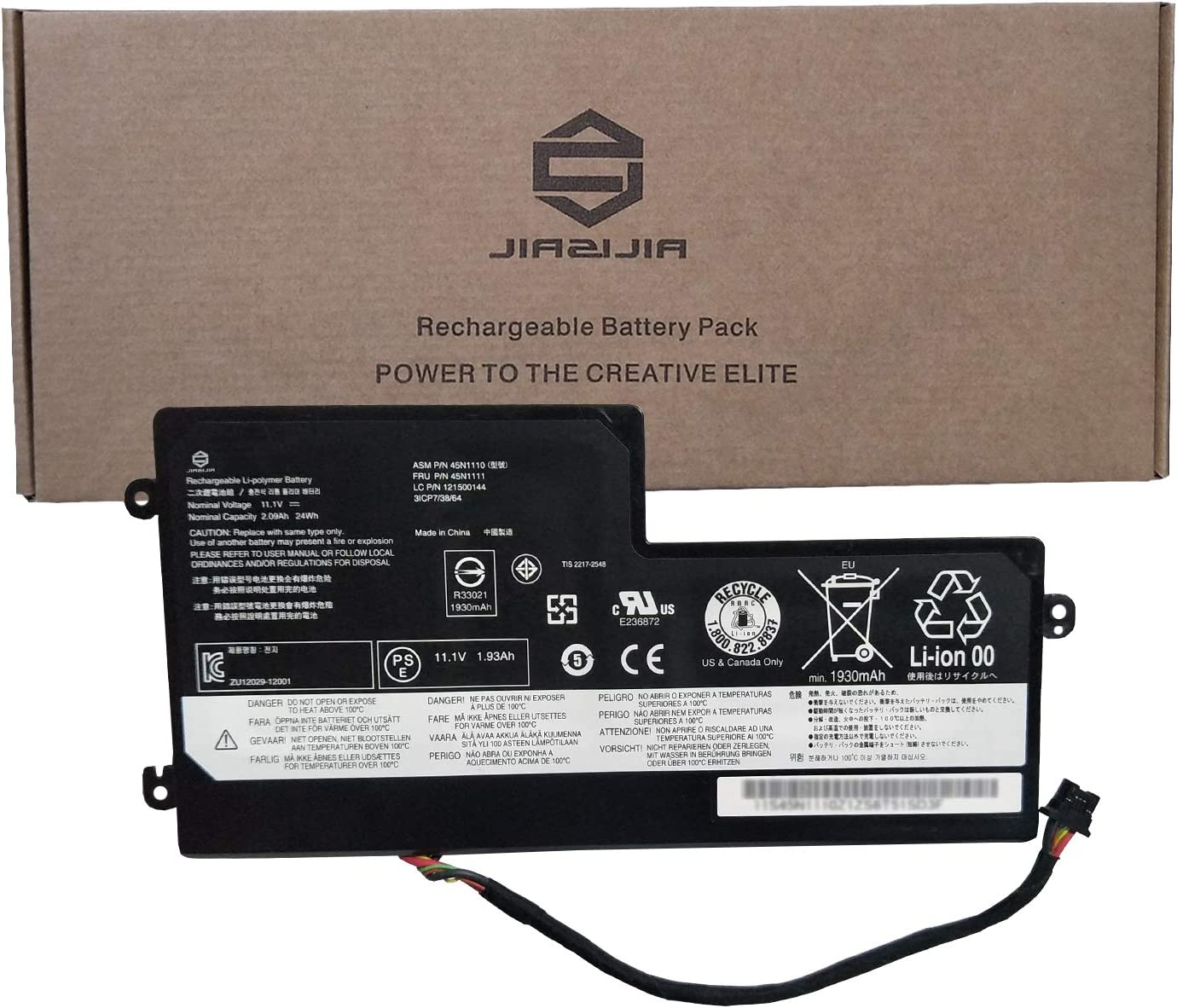 JIAZIJIA 45N1110 Laptop Battery Replacement for Lenovo ThinkPad T440 T450 T450S T460 X240 X240S X250 A275 Series Internal 45N1111 45N1112 45N1113 01AV459 45N1109 45N1108 45N1773 11.1V 24Wh 2090mAh
