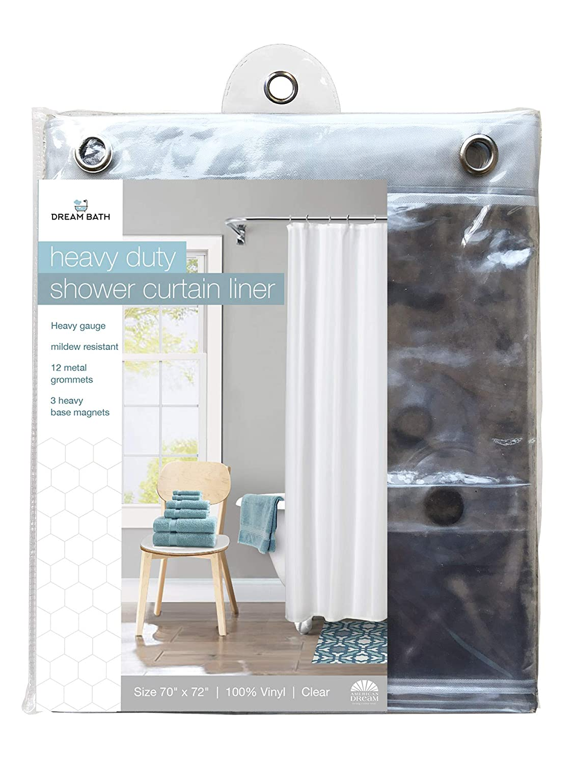 American Dream Home Goods Curtain AD388-CL Shower Liner Clear