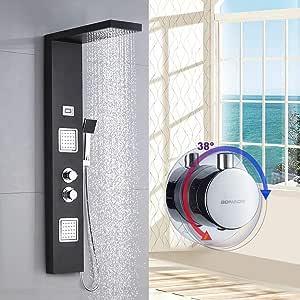 BONADE Panel de Ducha Termostático LCD Panel de Hidromasaje en Acero Inoxidable con Ducha de Mano y Manguera de Baño - Negro: Amazon.es: Bricolaje y herramientas