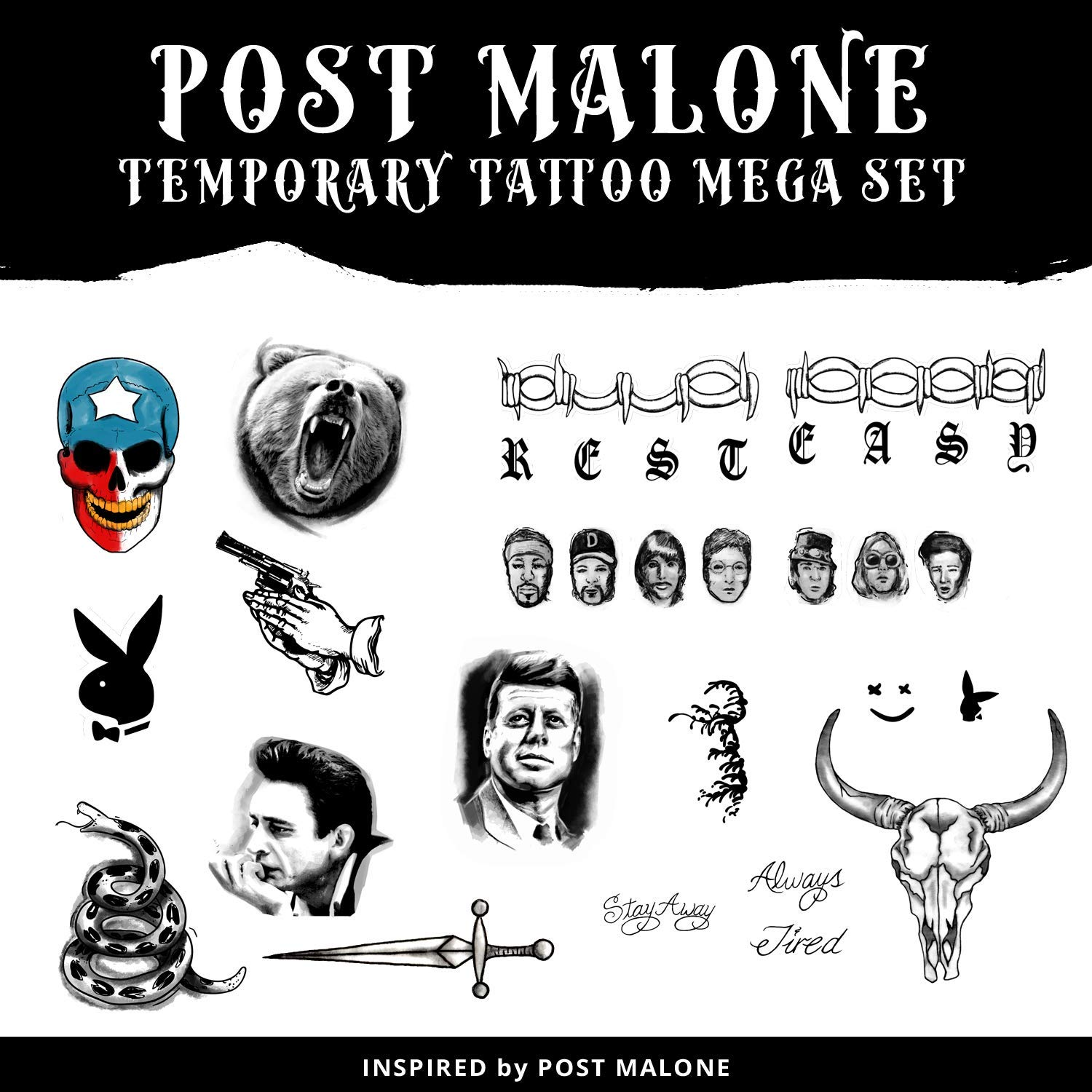 Post Malone Super Mega Deluxe Pack | Post Malone Tattoo Set | Temporary Tattoos | Halloween Costume | Skin Safe | 48 Tattoos Total by Ink Daze