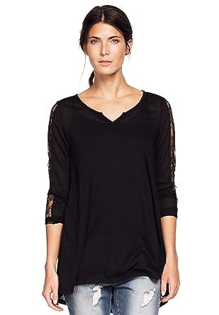 0b36c3fd265 Ellos Women s Plus Size Lace Trim Long Sleeve Tunic at Amazon Women s  Clothing store
