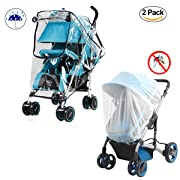 Baby Stroller Rain Cover and Mosquito Net Weather Shield,Yinuoday Universal Waterproof, Windproof Protection Baby Stroller Rain Cover Mosquito Net for Outdoor Indoor (Cover With Zipper)