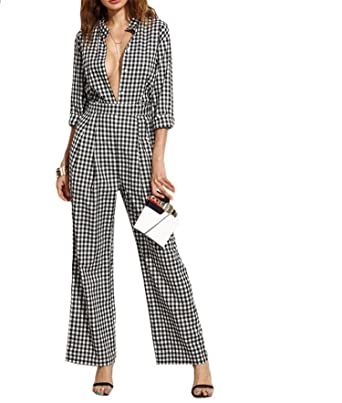 98b28c70e4c Rankei Black Collar Deep V Neck Long Sleeve Plaid Work Wear Jumpsuit,X-Small