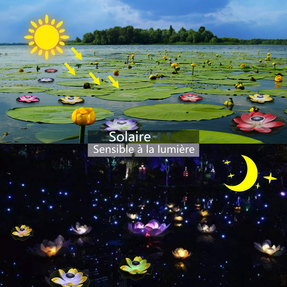 Lixada 0.1W Flor de Lotus de LED Multicolor Accionado Solar L/ámpara RGB Resistente al Agua al Aire Libre Flotaci/ón Estanque Luz de la Noche