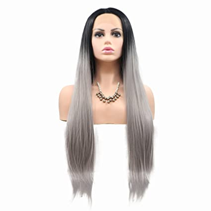 Peluca gris claro resistente al calor sin pegamento pelo sedoso recto mujer pelo negro raíces Ombre