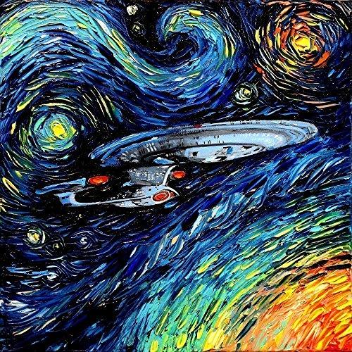 Star Trek Inspired Art poster Print Starship Enterprise Space van Gogh Never Boldly Went Art by Aja 8x8, 10x10, 12x12, 20x20, 24x24 inch sizes (Star Trek Poster)