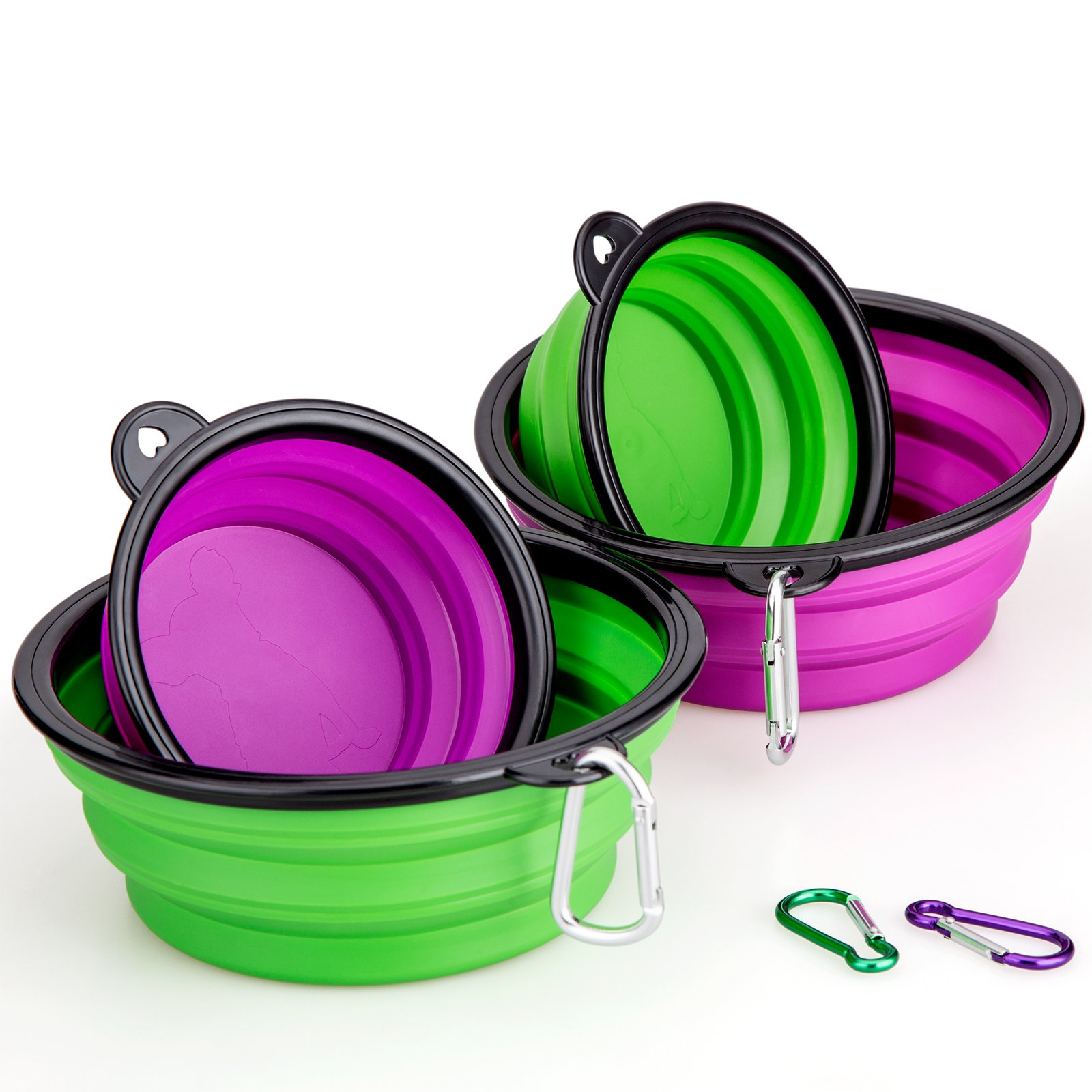 Collapsible Silicone Dog Bowl,IDEGG Food Grade Silicone,BPA Free Foldable Expandable Cup Dish for Pet Raised Dog/Cat Food Water Feeding Travel Bowl(Set of 4-Two Large Size+Two Small Size,Purple+Green)