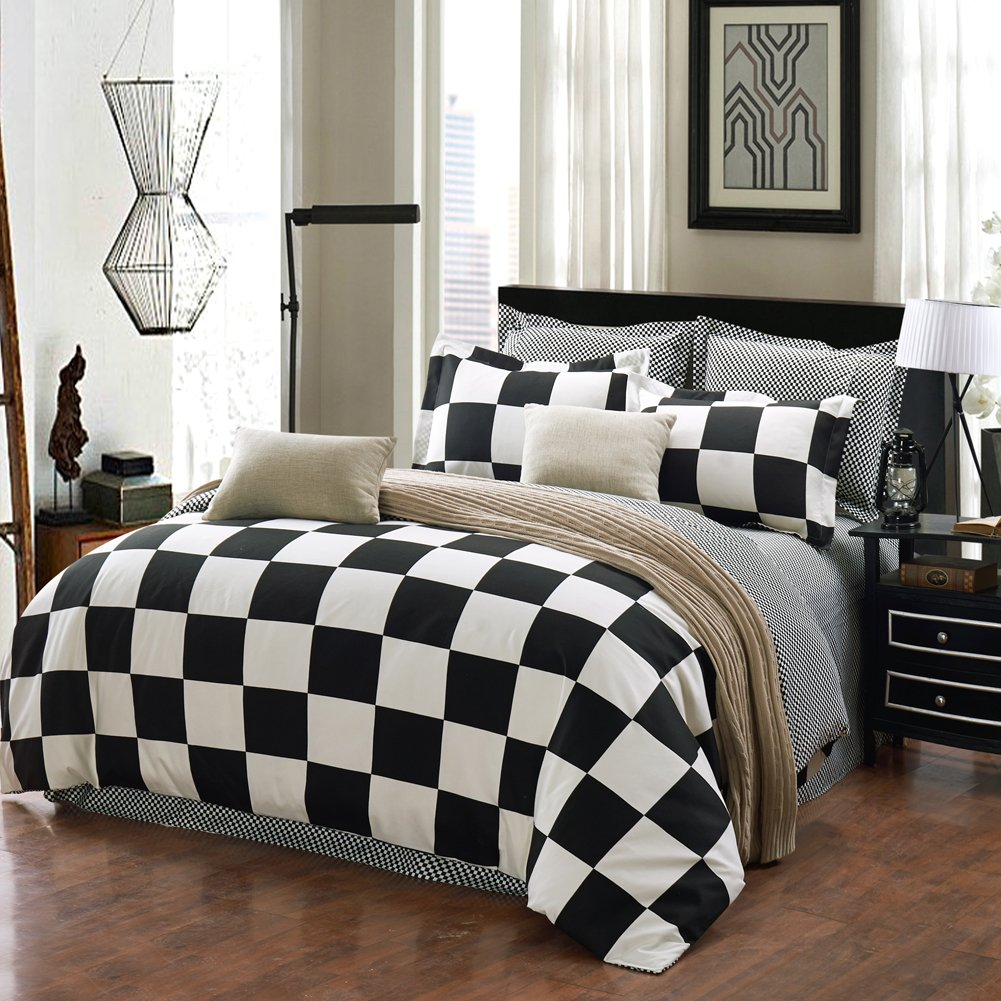 Bed sheet set black and white - Amazon Com Qzzielife Microfiber 1500t 4pc Bedding Duvet Cover Sets Checkerboard Black White Size King Home Kitchen