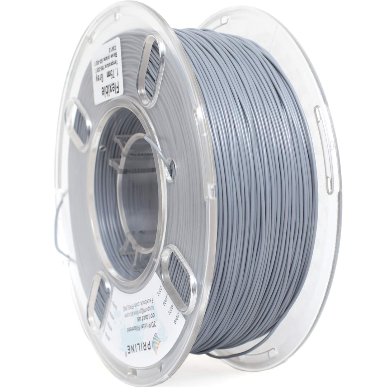 PRILINE TPU-1KG 1.75 3D Printer Filament, Dimensional Accuracy +/- 0.03 mm, 1kg Spool,Gray