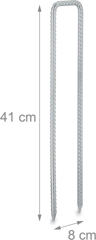 Relaxdays Erdanker 8er Set stabil Z/äune silber Bodenanker f/ür Vliese HxBxT 41x8x1 cm Zelte U Form Stahl verzinkt