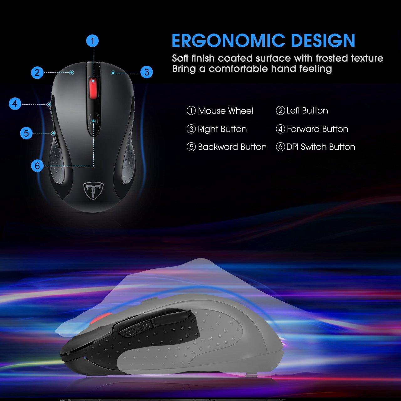 Xintop 2.4G Ratón Inalámbrico Ergonómico con Nano Receptor, 6 Botones Laterales Personalizadas, 5 DPI Ajustable 800-1200-1600-2000-2400, Modo de Dormir para ...