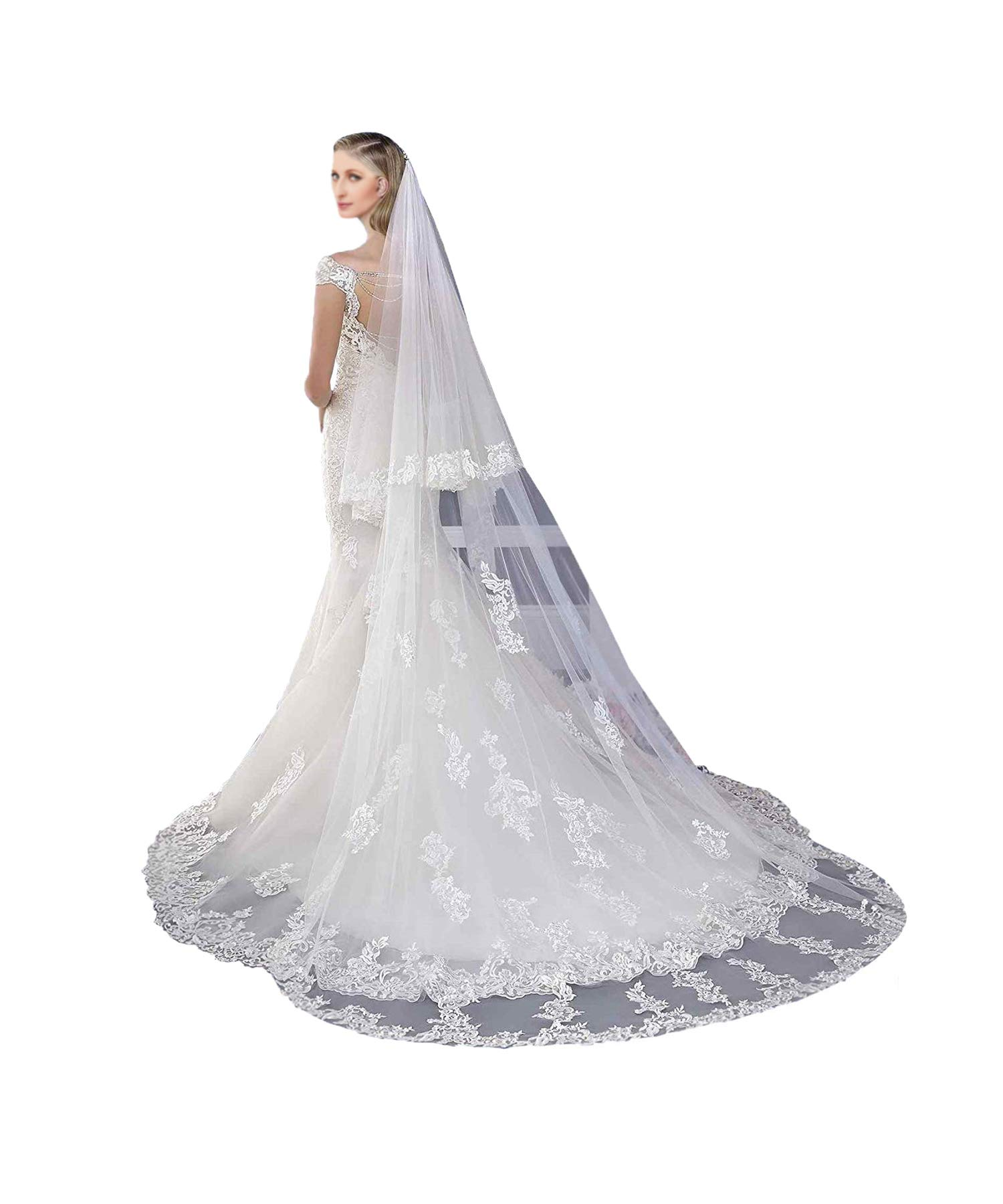 Newdeve 3M 2T White Bridal Veils Lace Edge Meter Long Free Comb by New Deve