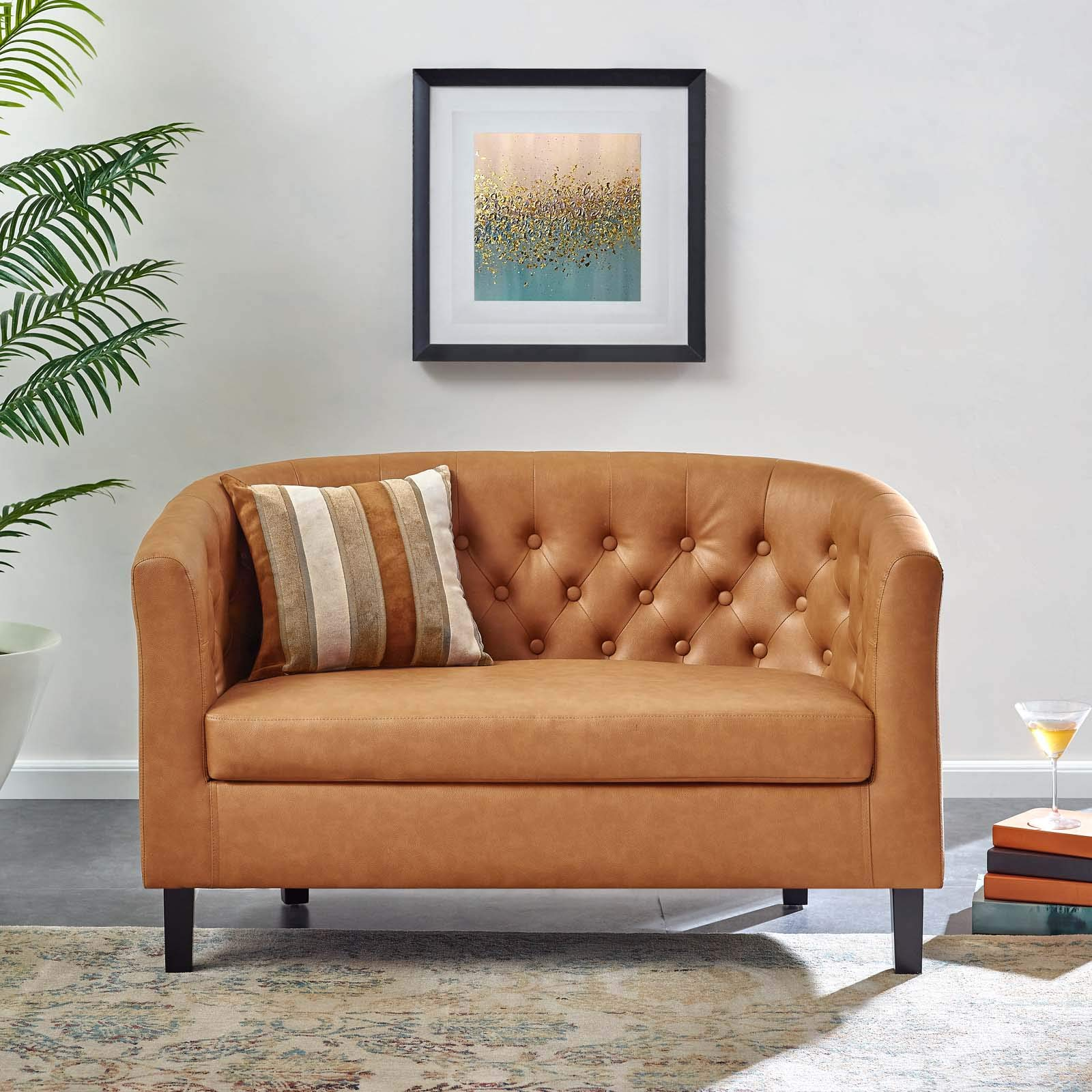 Modway Prospect Upholstered Contemporary Modern Loveseat In Tan Faux Leather by Modway