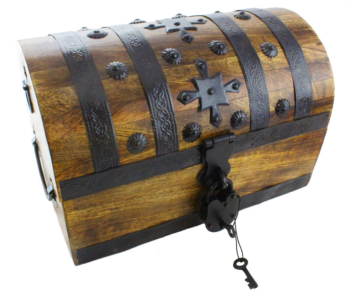 Well Pack Box Pirate Treasure Chest 14''x8''x9'' Decorative Storage Iron Lock and 2 Skeleton Keys (Large) by Well Pack Box