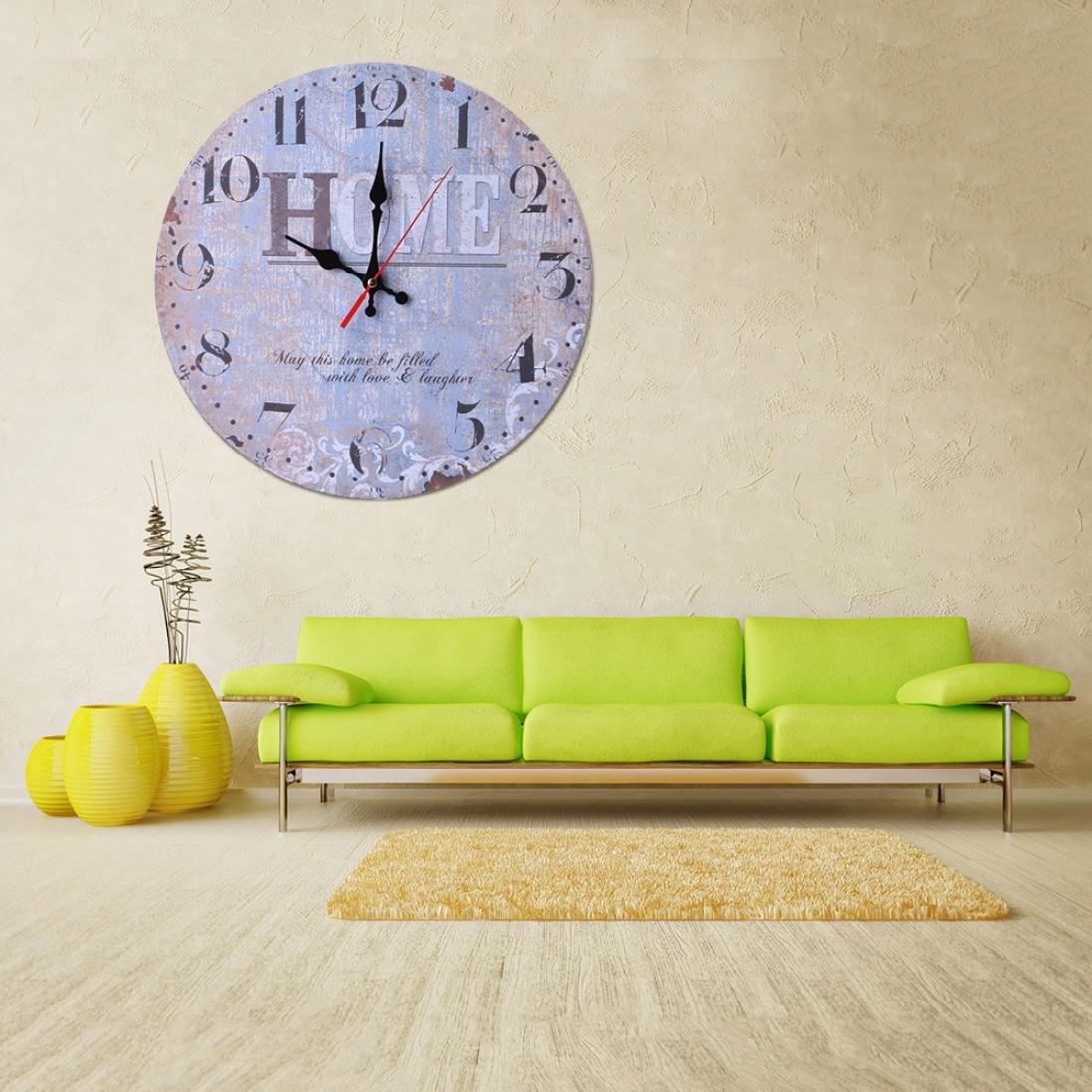ALIKEEY Horloge Murale en Bois Antique silencieuse Non-Ticking de Style