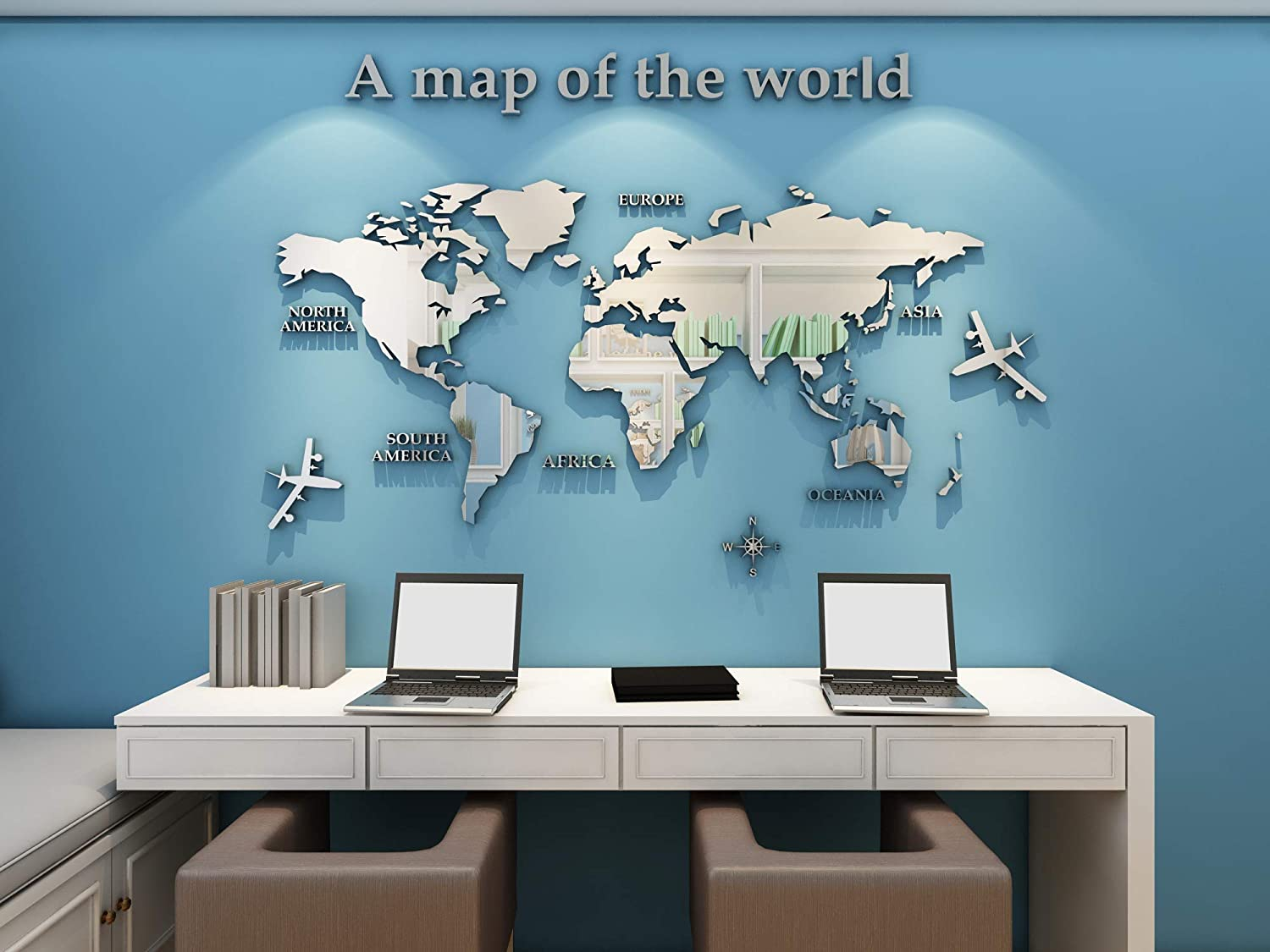 KINBEDY Acrylic 3D Wall Stickers Silver World Map Wall Decal Easy to Install &Apply DIY Decor Sticker Home Art Decor Silver.