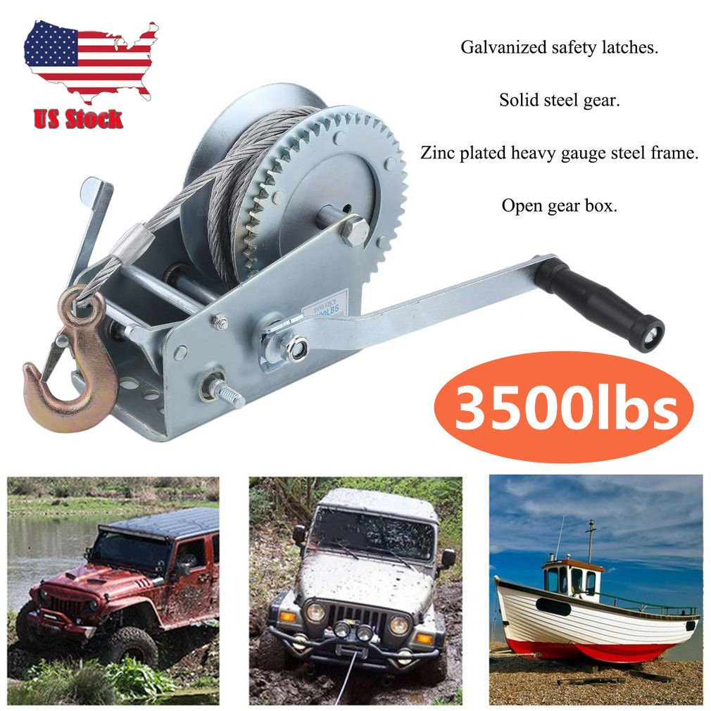 ExGizmo 3500lbs Dual Gear Hand Winch Hand Crank Manual Boat ATV RV Trailer Heavy Duty (#2) by ExGizmo