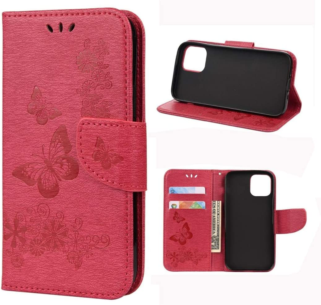 HAWEEL Case Cover For iPhone 12 mini Vintage Embossed Floral Butterfly Pattern Horizontal Flip Leather Case with Card Slot & Holder & Wallet & Lanyard