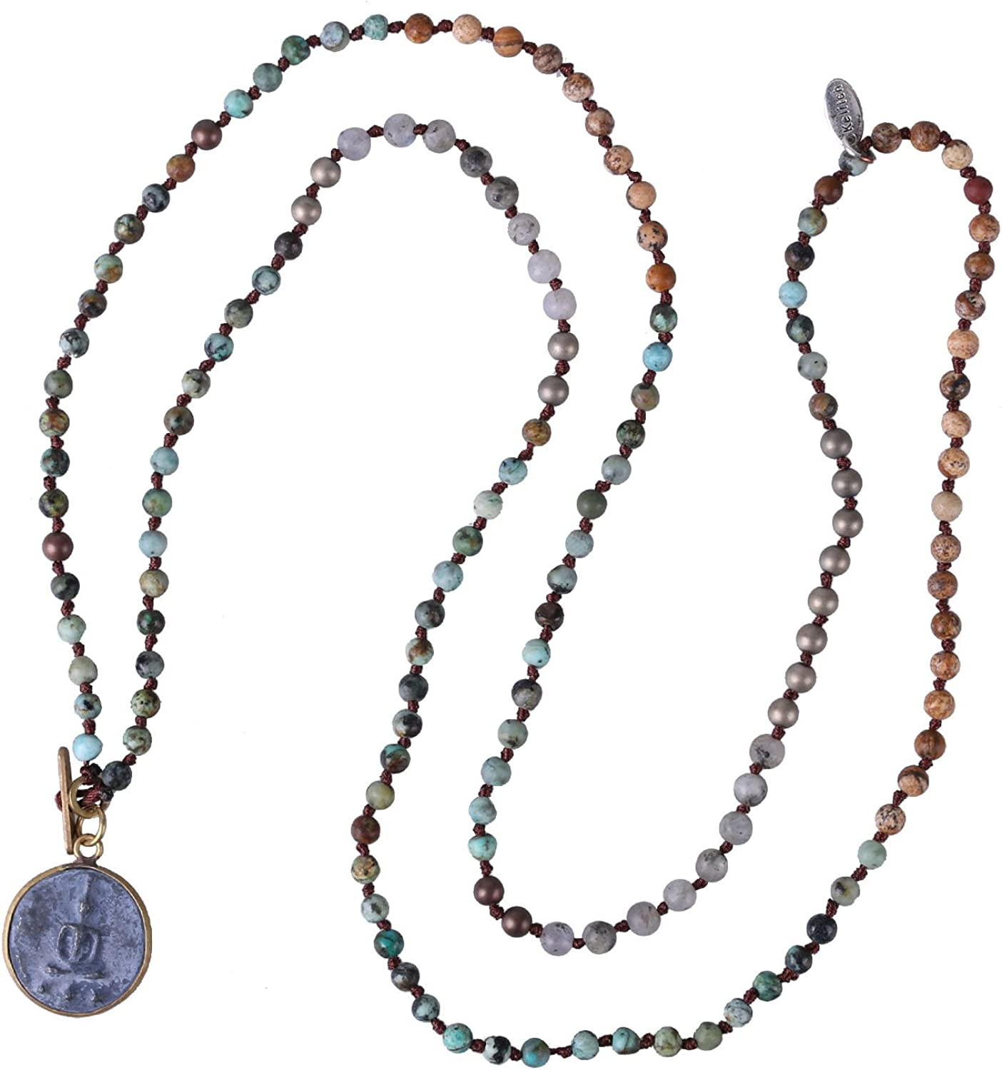 KELITCH Buddha Strand Necklace Long Beaded Sakyamuni Medal Pendant Necklace Lucky
