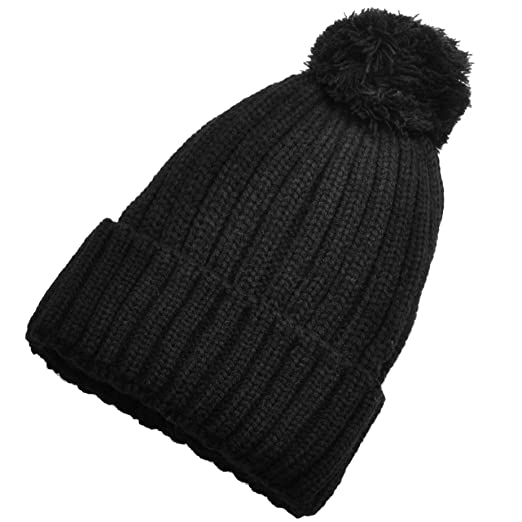 eec51fab5bf Birch Women Fur Ball Double Layered Knitted Winter Beanie (Black) at ...