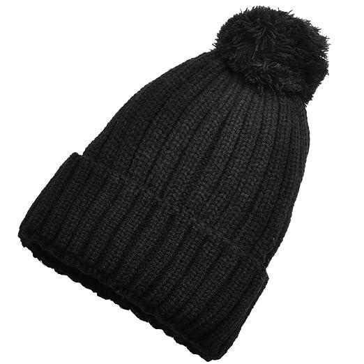 Birch Women Fur Ball Double Layered Knitted Winter Beanie (Black) at ... 362328bb8e6