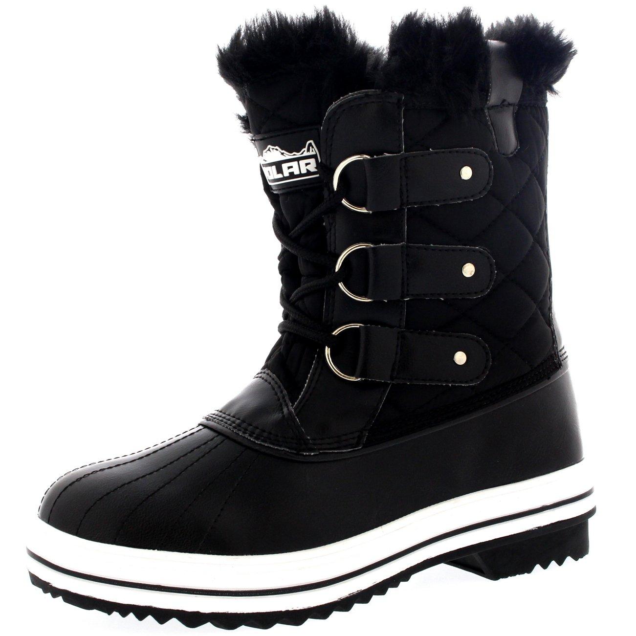 Polar Products Womens Snow Boot Nylon Short Winter Snow Fur Rain Warm Waterproof Boots - Black - 9-40 - ACD0030