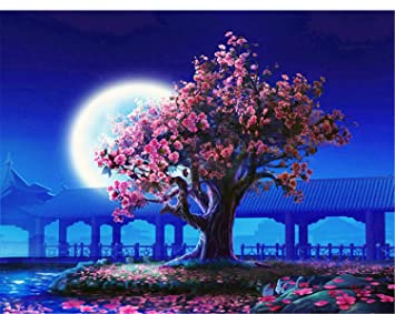 Xigzi Kein Rahmen Pfirsichblüte Diy Malen Nach Zahlen Landschaft