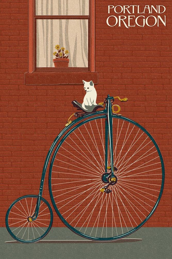 Portland, Oregon - Bicycle and Cat Letterpress (9x12 Art Print, Wall Decor Travel Poster)