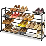 """Whitmor 4-Tier 20 Pair Shoe Rack - Vertical Storage Bench, Space Saving Portable Home Shoe Organizer Tower Unit - Easy to Assemble - No Tools Required - Black Finish – 9"""" x 35"""" x 18"""" Inch"""