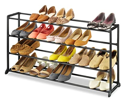 whitmor 4 tier 20 pair shoe rack vertical storage bench space saving portable - Vertical Shoe Rack