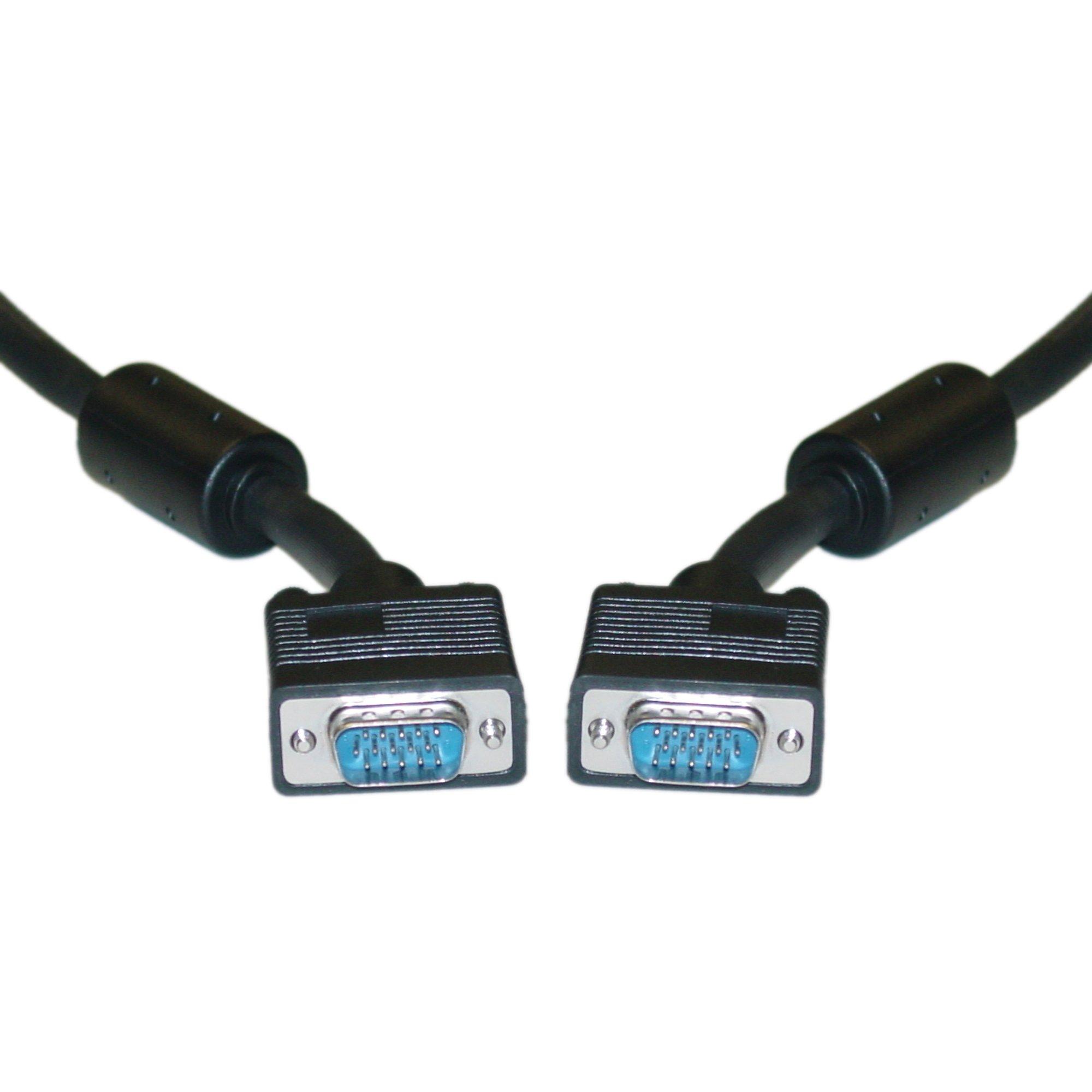HD15 (SVGA) Male / HD15 (SVGA) Male, Coaxial, with Ferrite Bead, Black, 150 ft
