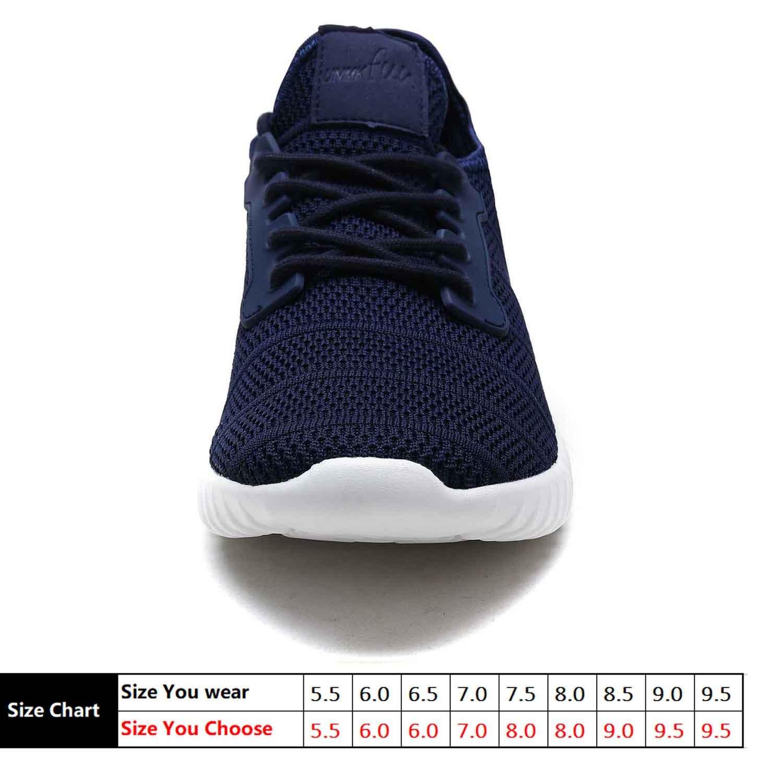 UNMK FUN Women\'s Fashion Sneakers Running Shoes 9518W02 Walking Shoes (6, Navy)