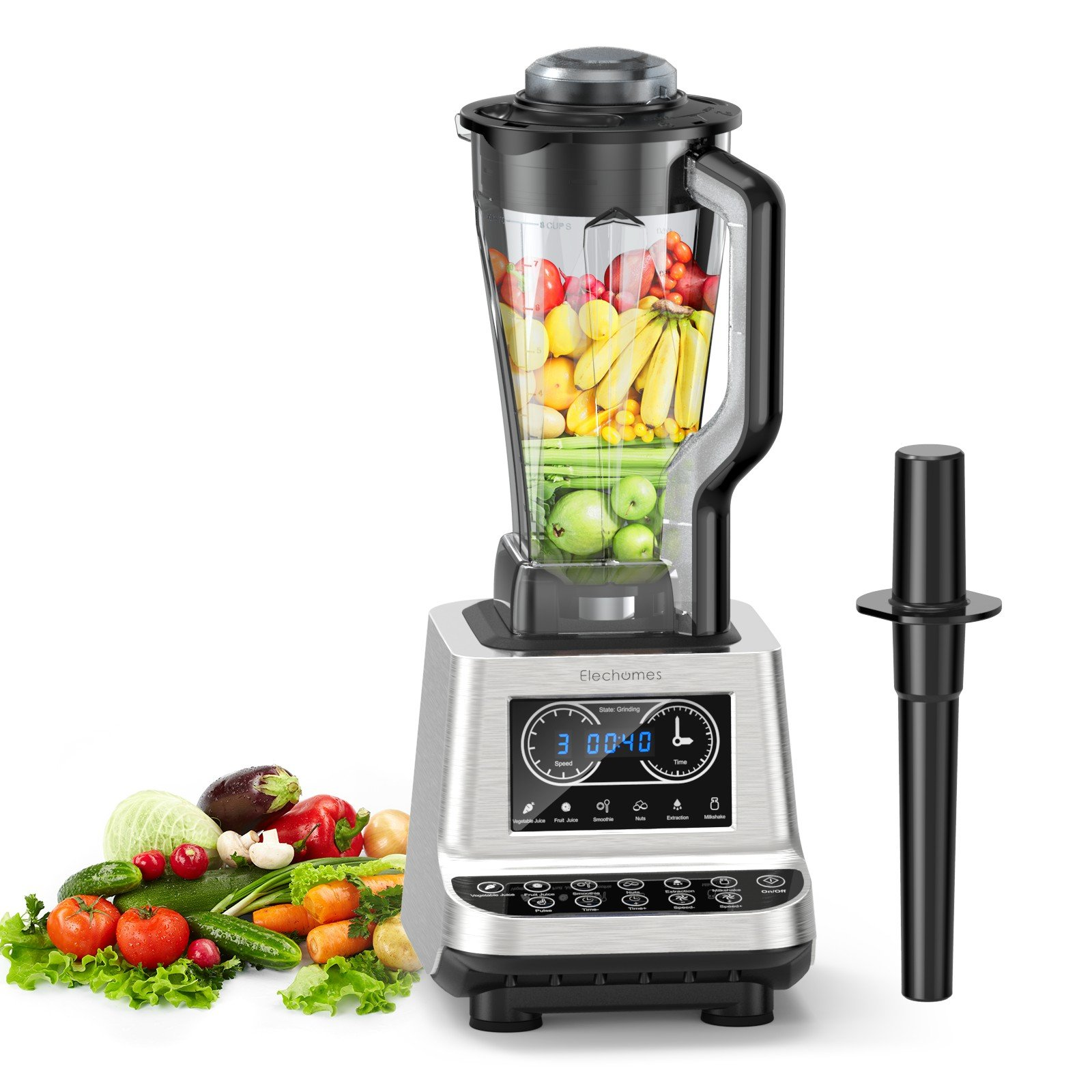 High Speed Blender - Elechomes CHS2001 1600W Professional Commercial Smoothie Blender, 30000RPM Heavy Duty Food Processor for Ice, Soup, Mincemeat, Nut Butter with Large Tritan Pitcher by Elechomes