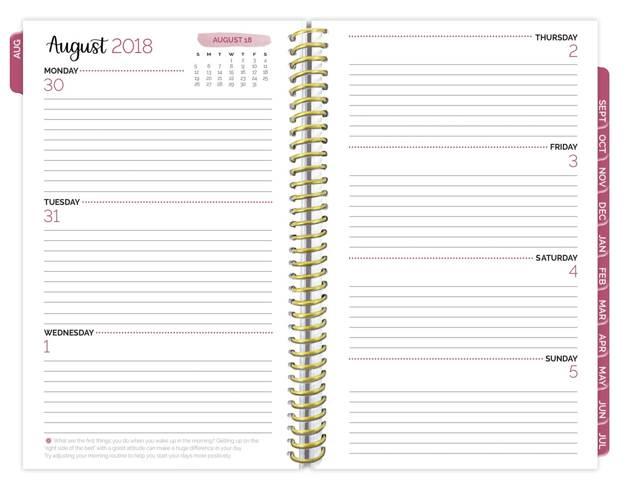 bloom daily planners 2018-2019 Academic Year Day Planner - Monthly and Weekly Calendar Book - Inspirational Dated Agenda Organizer - (August 2018 - July 2019) - 6'' x 8.25'' - Marble by bloom daily planners (Image #4)