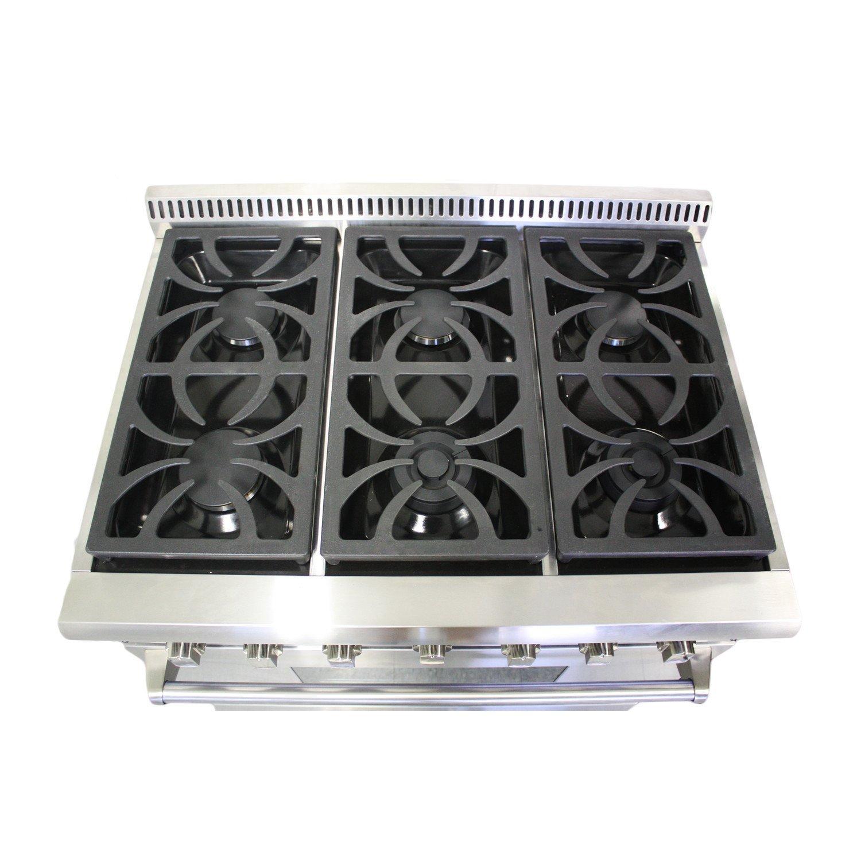 """Amazon Thor Kitchen HRG3618U 36"""" Pro Style 6 Burner Stainless"""