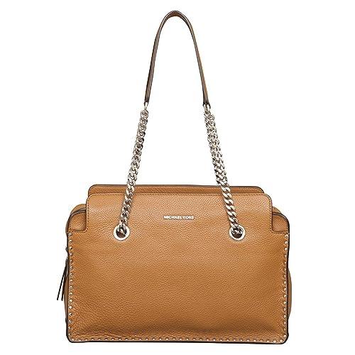Michael Kors - Bolso estilo cartera de Piel para mujer marrón Bellota Large: Amazon.es: Zapatos y complementos