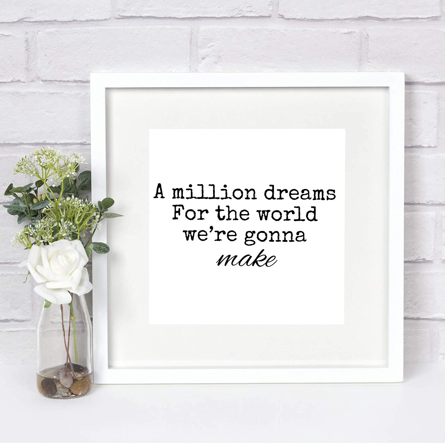 picture about A Million Dreams Lyrics Printable known as Framed Tune Lyrics Print, A Million Needs, The Major