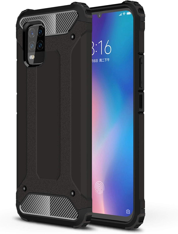 FANFO® Xiaomi Mi 10 Lite 5G Funda, protección contra Golpes de TPU + PC Resistente a arañazos (Doble Capa) Carcasa para Xiaomi Mi 10 Lite 5G, Negro