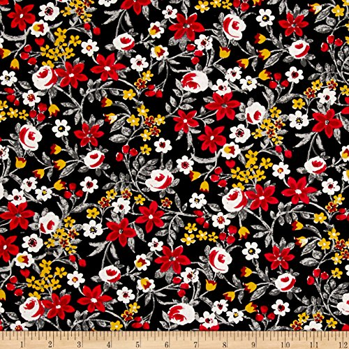 Santee Print Works Botanical Garden Floral Black Red Fabric by The Yard