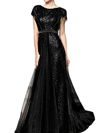 Favors Womens Sequin A Line Long Evening Dress with Sleeve Formal Gown Black 2
