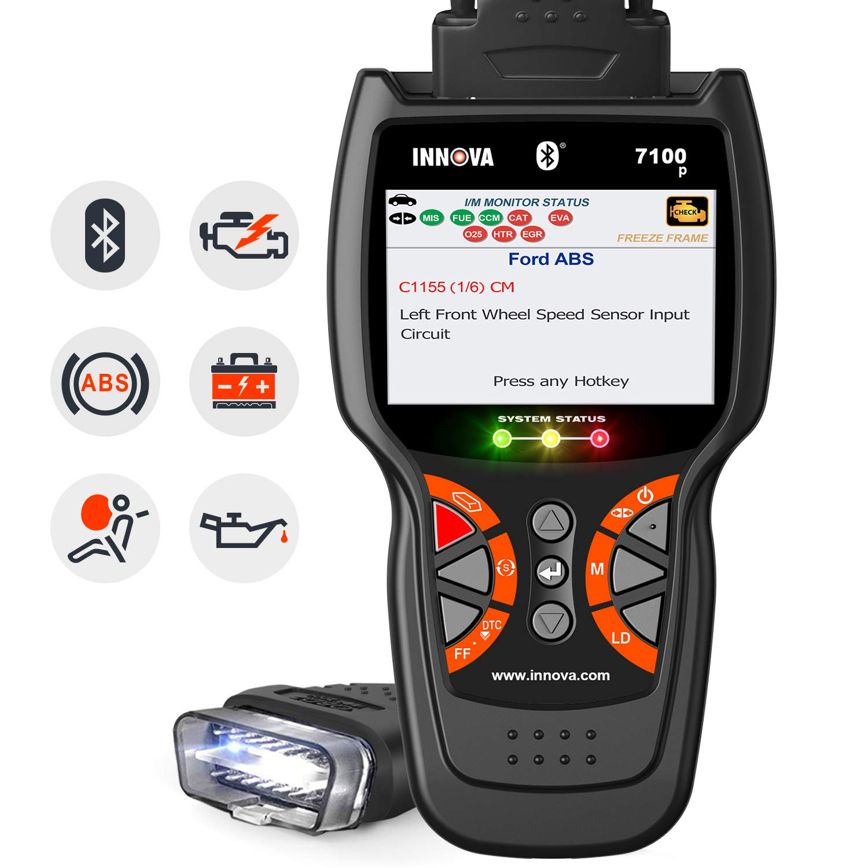 INNOVA 7100P SRS ABS Engine Live Data Diagnostic Tool Service Light Reset Battery Reset Alternator Test with Bluetooth