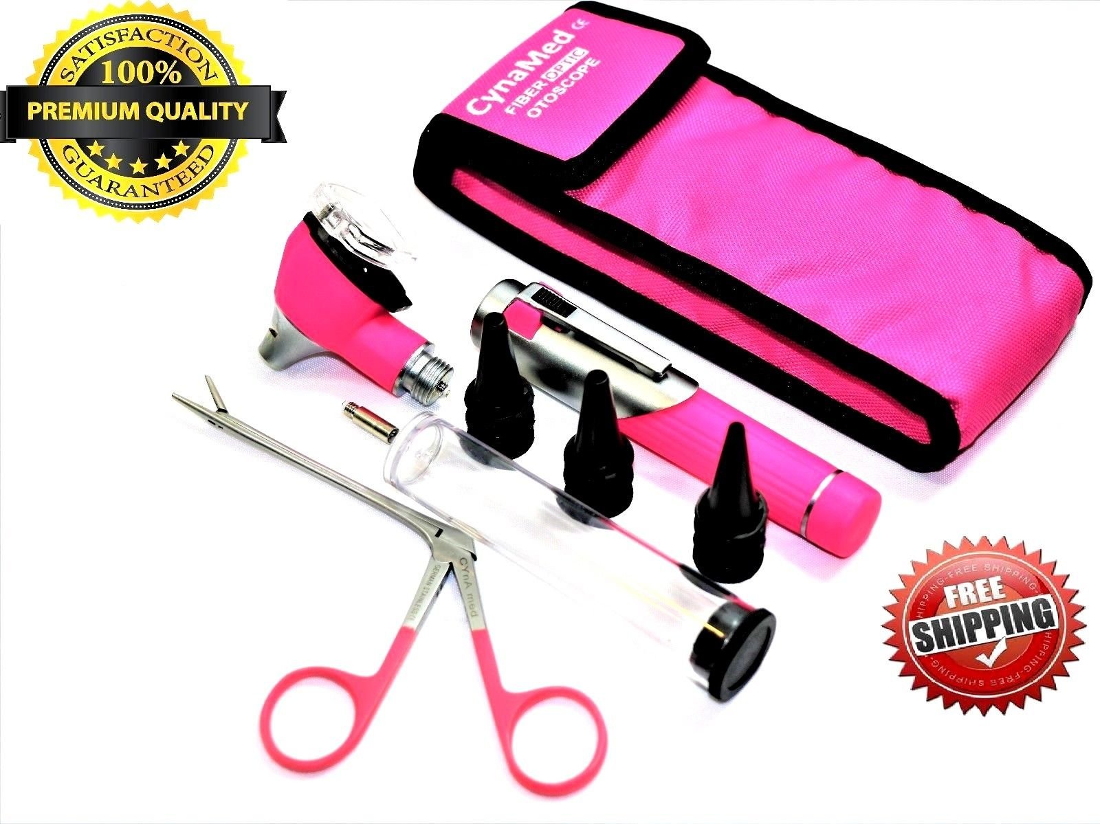 Premium STUDENT HOME USE LED Bright Light ENT Diagnostic Otoscope Pocket Size ( PINK ) + ALIGATOR EAR NOSE FORCEPS + 1 Free Extra Replacement Bulb + 10 Speculas ( CYNAMED )