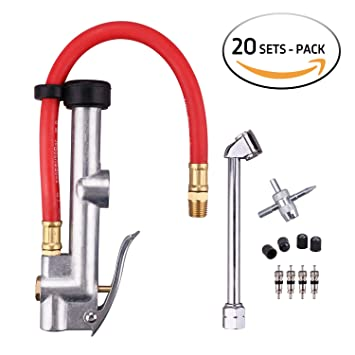 wynnsky Heavy Duty Medidor de Inflador de neumáticos compresor de aire accesorios Dual Cabeza Aire Chuck con manguera de aire/conjuntos de funda de ...