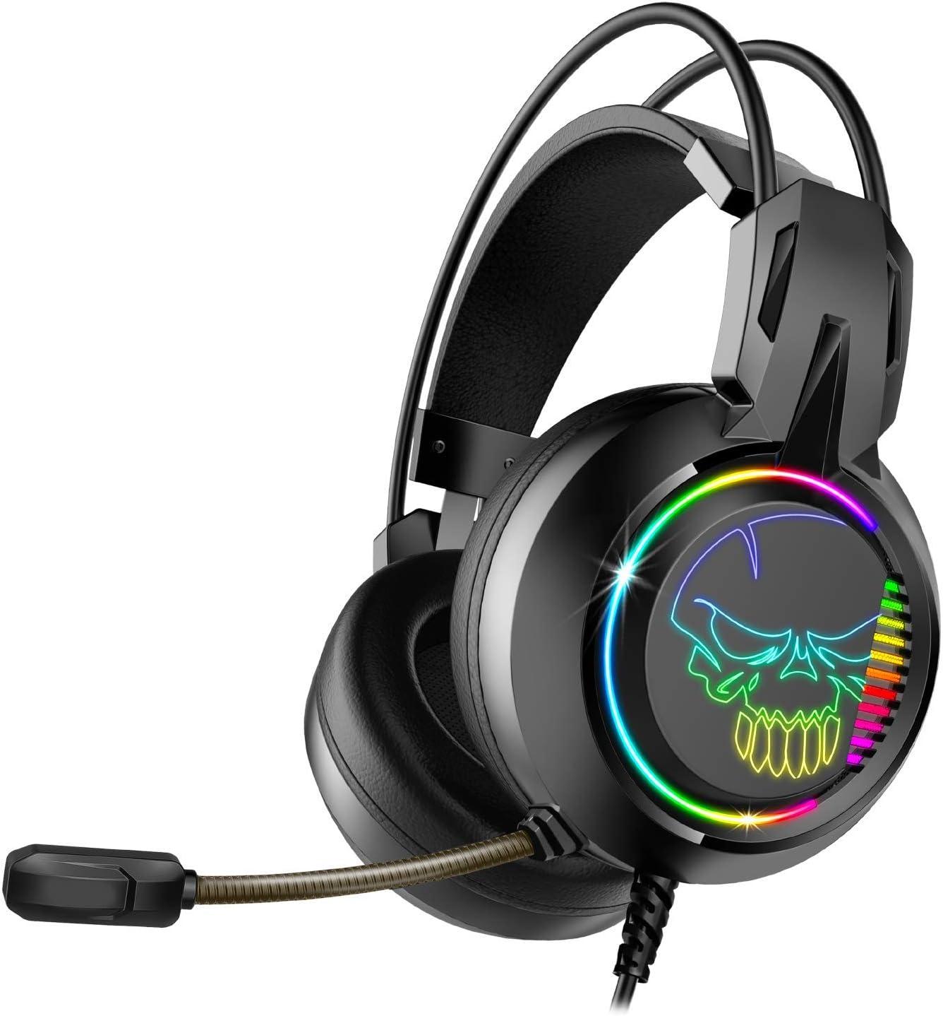Casque Noir Audio Pro Gamer HP 40mm SPIRIT OF GAMER RGB ELITE-H10 USB 2M Microphone Flexible Simili Cuir Son Surround 7.1 Virtual