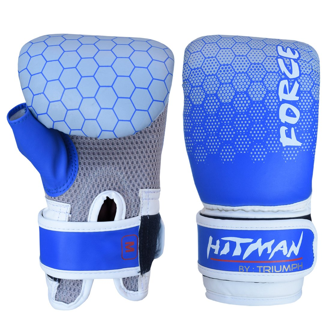 HITMAN Force Fight Gear Contender Hybrid Grappling Martial Arts Sparring Cage Fighting Mitts UFC Combat Training Half Thumb Punching Gloves Blue