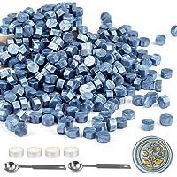 Mornajina 360 Pieces Blue Sealing Wax Beads, Octagon Wax Seal Beads Kits for Wax Seal Stamp, with 2 Wax Sealing Stamp…